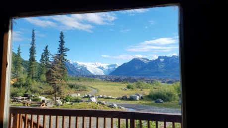 balcony, cottage, mountains, view, window, landscape, mountain, snow, range, peak