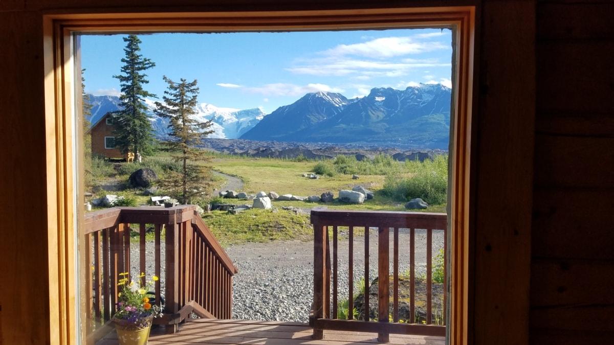 balkong, bungalow, hytte, inngangsdør, verandaen, huset, fjellsiden, ferie, vinduet, tre