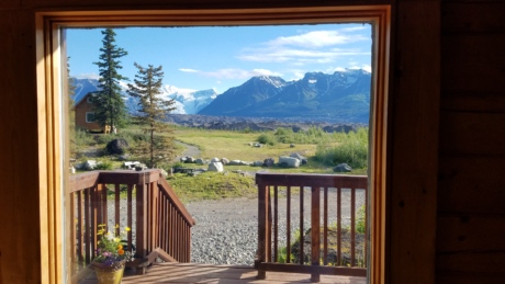 balcony, bungalow, cottage, front door, front porch, house, mountainside, vacation, window, wood