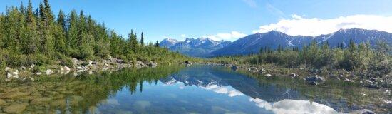 Lac, majestueux, Panorama, réflexion, Scenic, neige, Glacier, eau, gamme, montagne