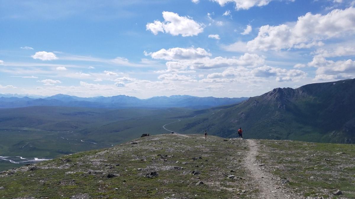 mountain climber, mountain peak, trail, high land, mountain, mountains, landscape, volcano, range, nature