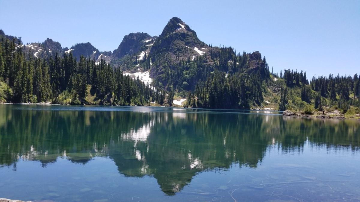 Smuk, søen, bjerge, refleksion, landskab, kyst, træ, ved søen, vand, bjerg