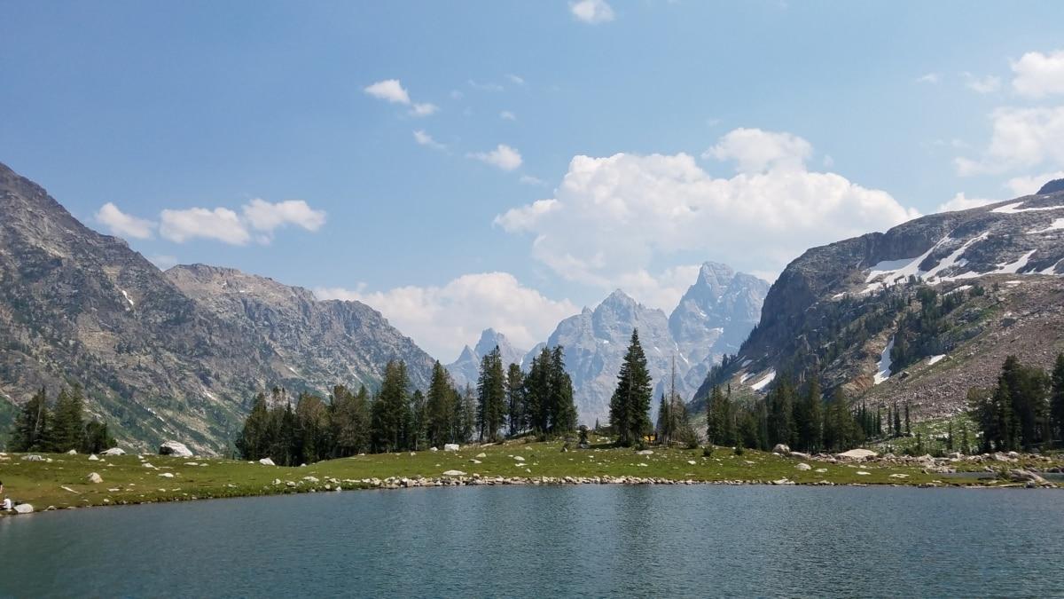 meer, berg, sneeuw, bos, Bergen, landschap, water, natuur, hout, boom