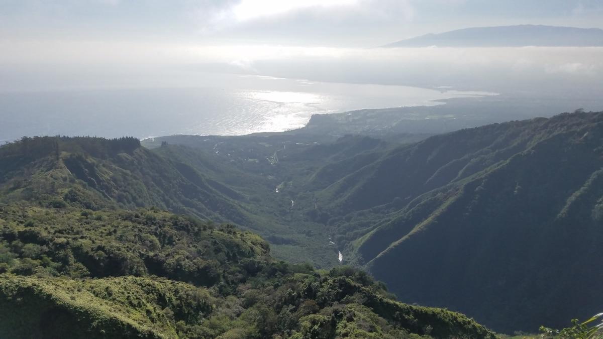 mountains, landscape, range, mountain, high land, valley, fog, nature, water, wood