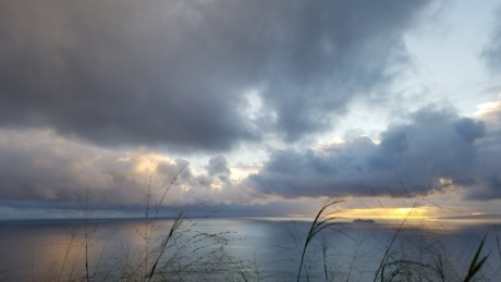 clouds, landscape, dawn, sunset, lake, sun, beach, water, sea, storm