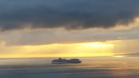 cruise ship, foggy, storm, sea, ship, beach, water, sunset, sun, sunrise