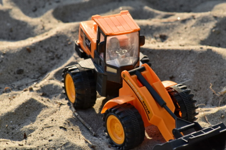 sand, toy, tractor, vehicle, machinery, machine, soil, equipment, bulldozer, industry