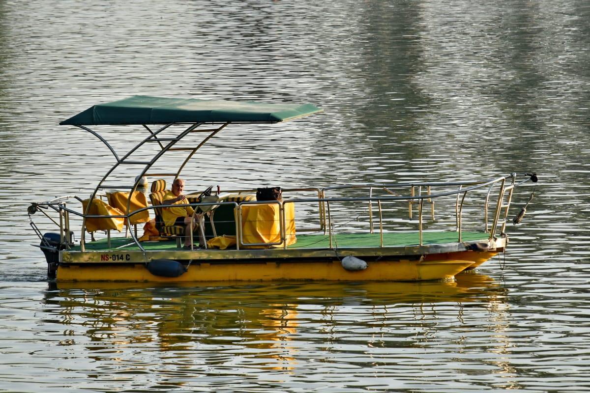 pescador, barco, água, motos de água, Rio, reflexão, Lago, natureza, Verão, nave