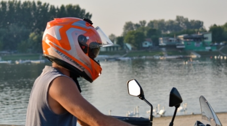 helmet, lake, motorcycle, motorcyclist, swan, water, competition, vehicle, recreation, action