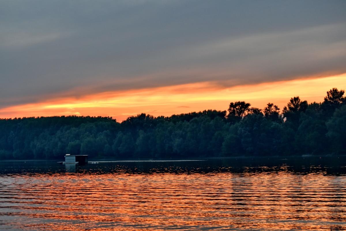 boathouse, sunset, lake, dawn, water, atmosphere, evening, reflection, landscape, sun