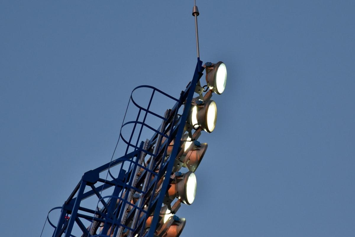 refletor, Torre, indústria, equipamentos, aço, alta, luz, tecnologia, carrossel, urbana