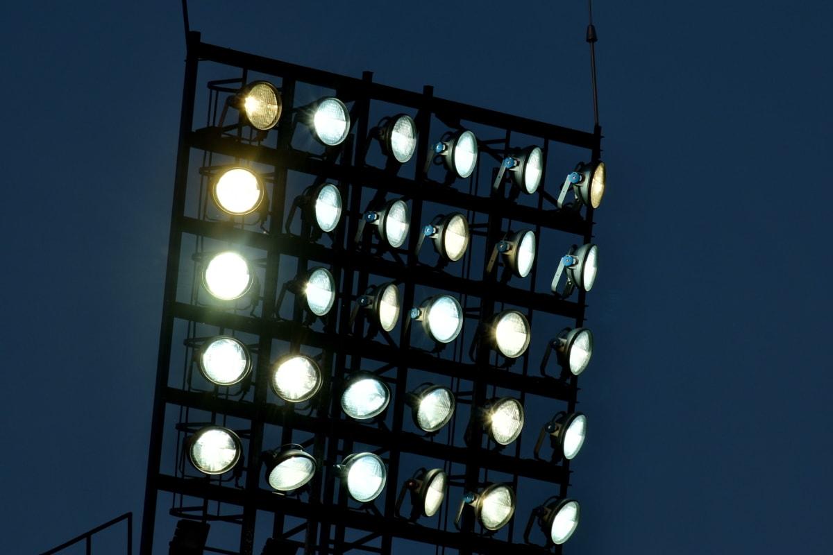 pimeys, sähkön, heijastin, valokeila, arkkitehtuuri, rakentaminen, kaupunki, lamppu, valo, valaistu