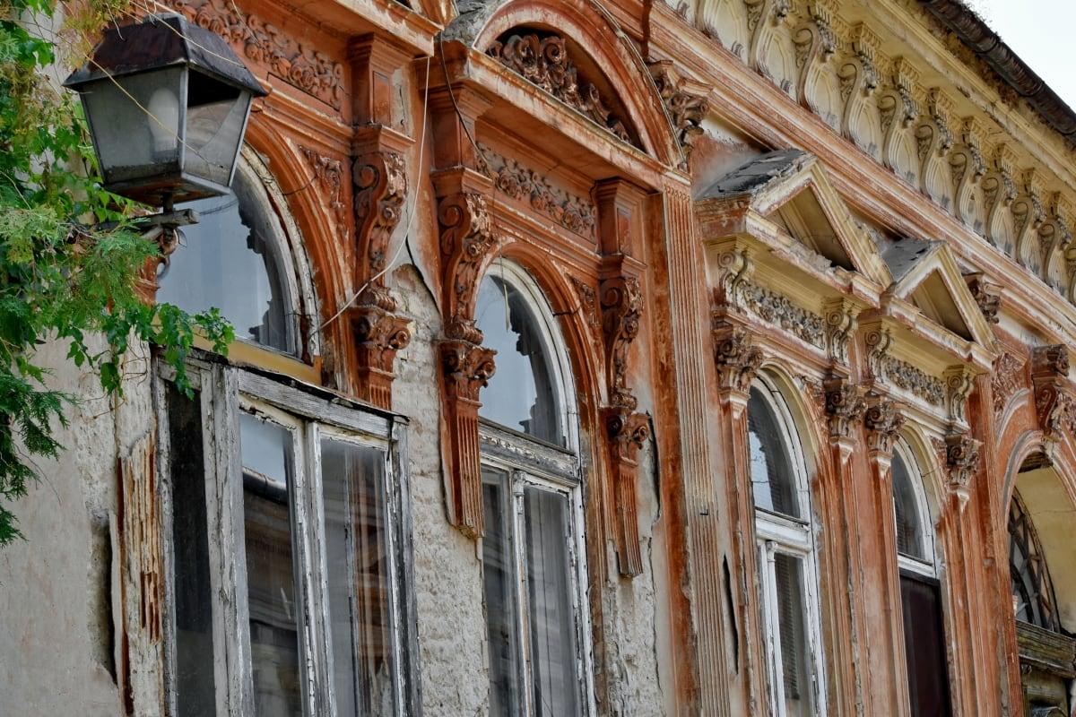 abandonado, decadência, janela, arco, estilo arquitetônico, arte, edifício, cidade, clássico, nuvem