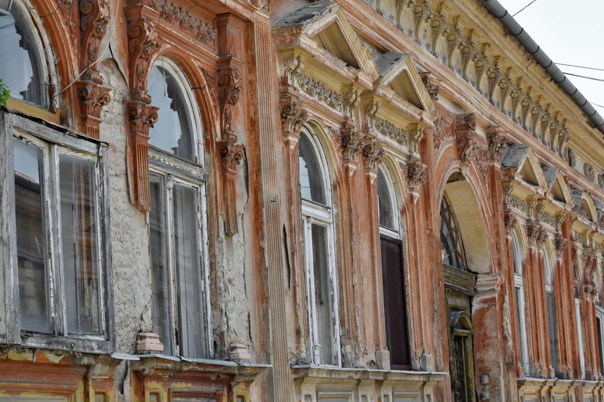 opustené, barokový, fasáda, pouličné, Staroveké, antický, oblúk, architektonické, architektonický štýl, Architektúra