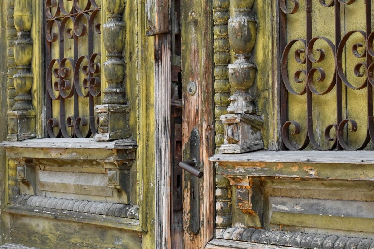 Дърводелски, резби, чугун, входната врата, порта, ръчно изработени, древен, Антик, архитектурни, архитектурен стил