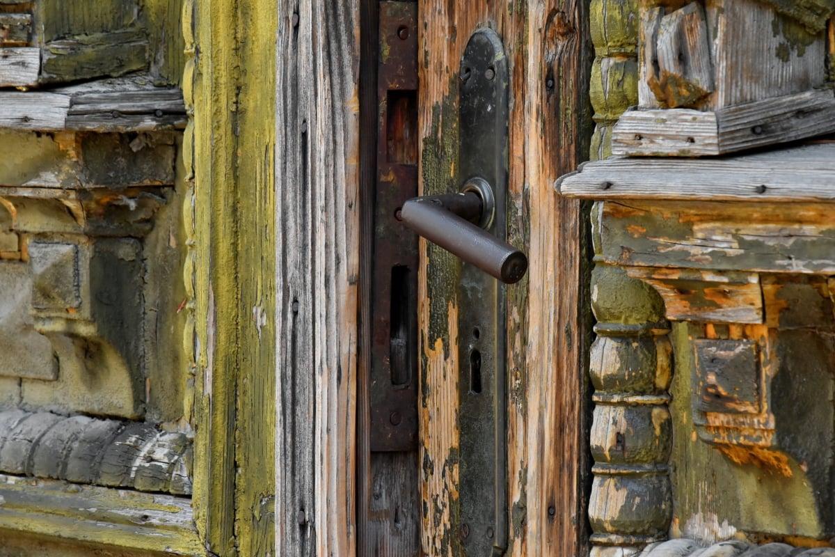 carpintaria, decadência, porta da frente, abandonado, antiga, arquitetura, estilo arquitetônico, arquitetura, arte, marrom