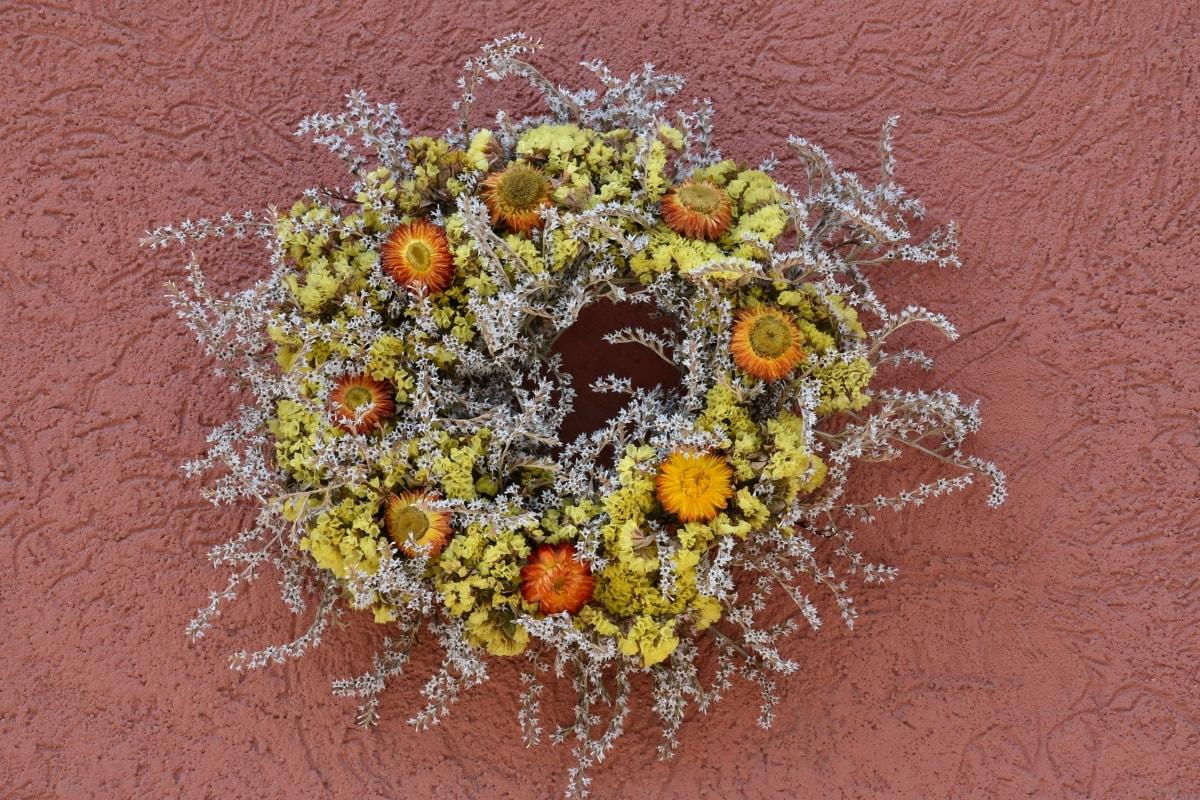 koło, dekoracyjne, sucha, kwiaty, kształt, Martwa natura, ściana, Natura, kwiat, tekstury