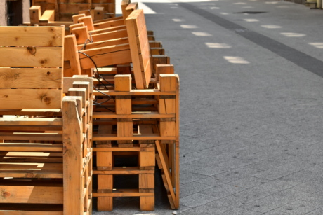 carpentry, chairs, furniture, handmade, pallet, pile, street, tables, urban area, wooden