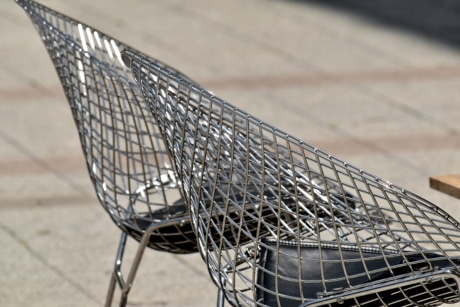 chairs, chrome, metallic, stainless steel, steel, urban, outdoors, iron, empty, contemporary