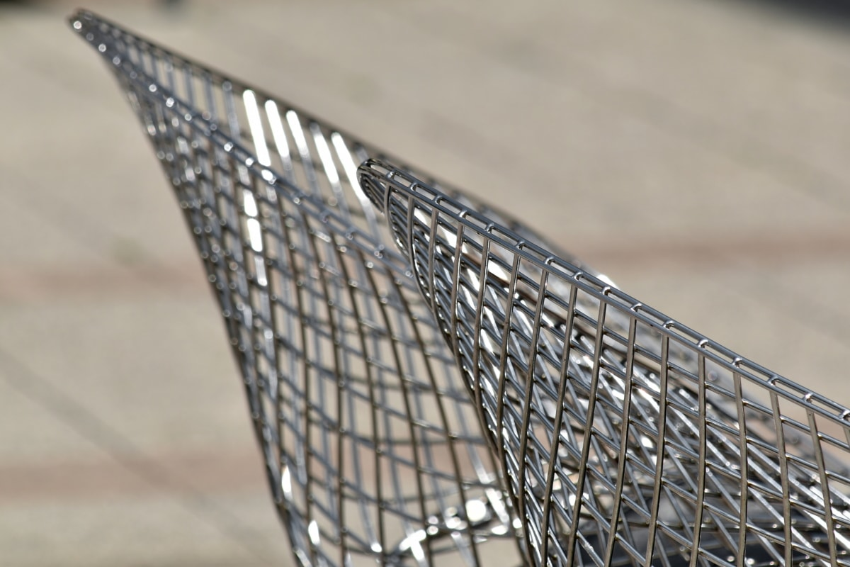 chair, furniture, metallic, modern, stainless steel, web, steel, outdoors, wire, iron