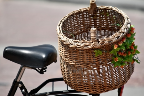 bicycle, decorative, old, still life, wicker basket, container, basket, wood, nature, handmade