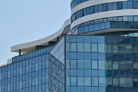 buildings, curve, glass, modern, perspective, reflection, skyscraper, building, futuristic, architecture