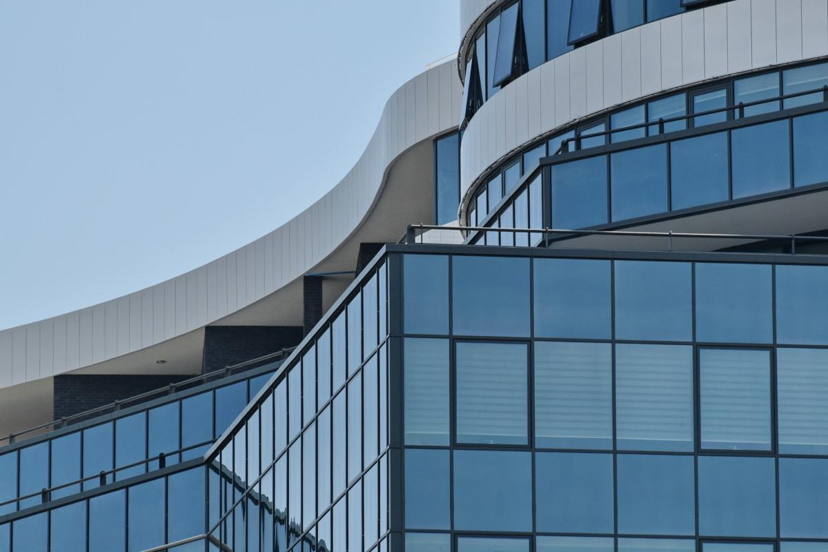bleu, contemporain, courbe de, futuriste, urbain, verre, Création de, Bureau, fenêtre, moderne