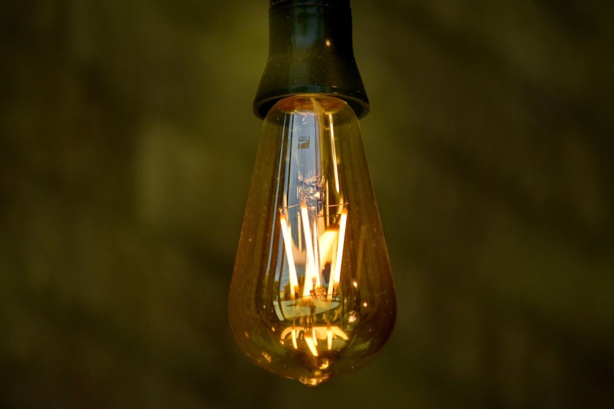 smukt foto, lampe, pære, johdin, glas, belyst, lys, lyse, skinnende, udendørs