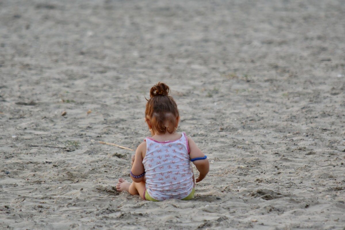 beach, childhood, girl, pretty girl, sand, toddler, vacation, fun, child, ocean