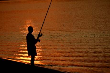 beach, sunset, fisherman, swing, water, fishing rod, dawn, lake, evening, man