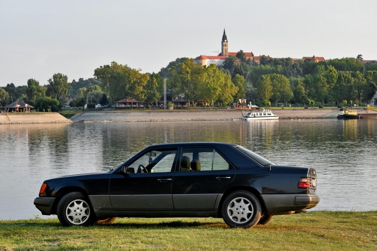 coche, Castillo, paisaje, barco por el río, temporada de verano, sedán, vehículo, automóvil, transporte, transporte