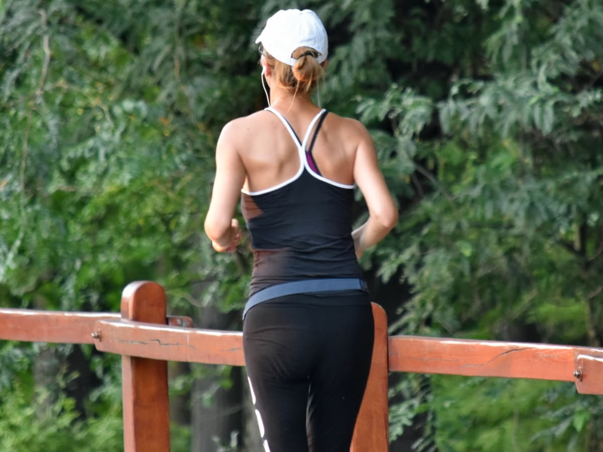 atractive, jogging, activitate fizică, subţire, tanara, îmbrăcăminte, femeie, fată, vara, în aer liber