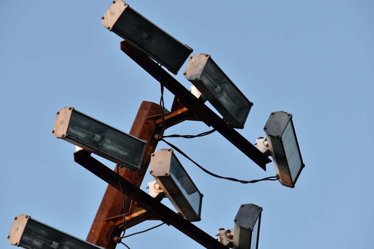 reflektor, utstyr, teknologi, industri, blå himmel, utendørs, gamle, høy, elektrisitet, stål