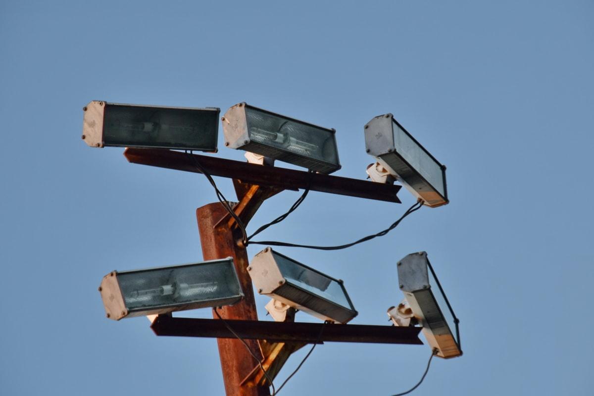 reflektor, berendezések, készülék, kék ég, szabadban, magas, lámpa, technológia, utca, retro