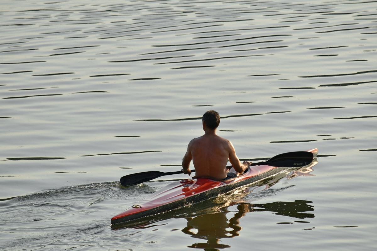 vožnja kanuom, stanje, vježba, fizička aktivnost, odraz, sportski, izlazak sunca, zalazak sunca, more, veslo