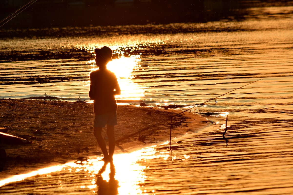 beautiful photo, boy, fisherman, fishing gear, fishing rod, riverbank, silhouette, sunset, water, beach