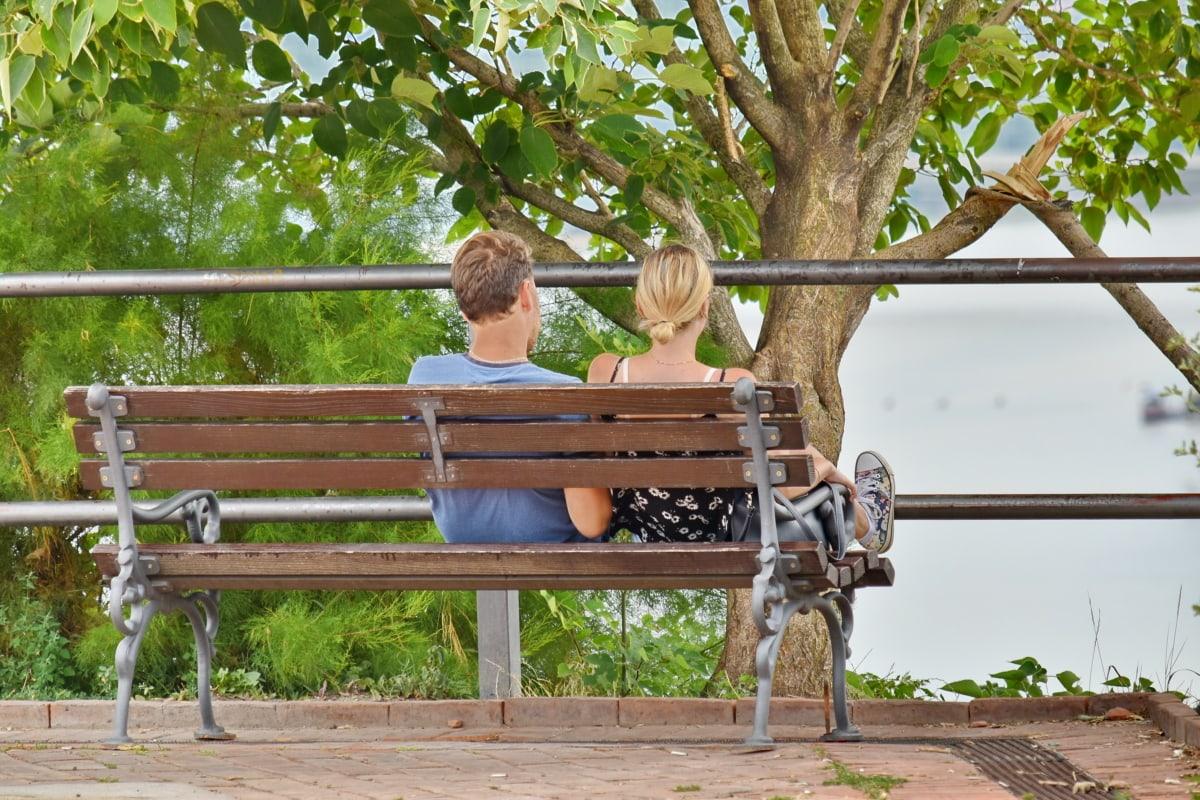 benken, kjæreste, kjæreste, kjærlighet, panorama, elvebredden, fellesskap, natur, hage, Sommer