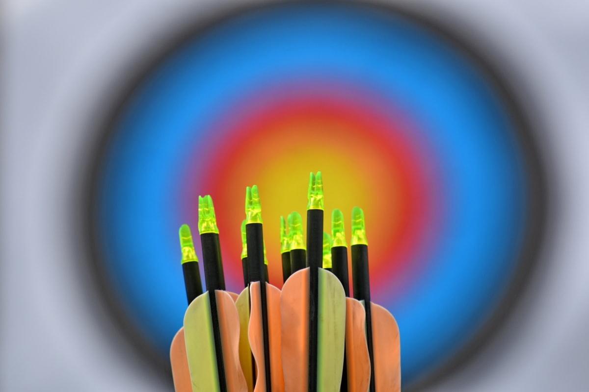 nyíl, nyílhegy, központ, távolság, cél, világos, blur, műanyag, színes, éles