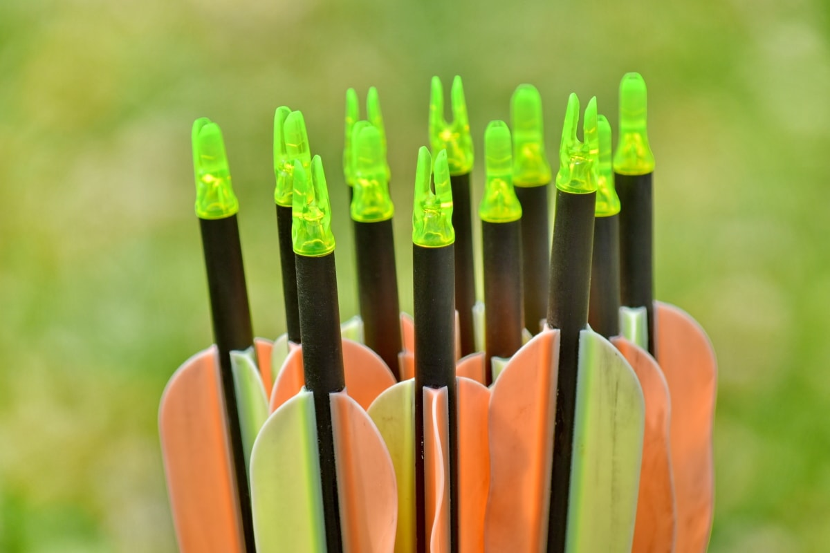 archery, arrow, arrowhead, close-up, colorful, outdoors, summer, grass, nature, equipment