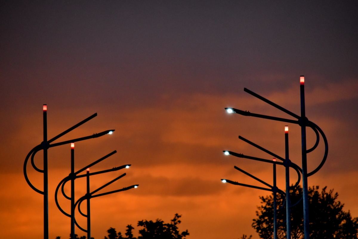 industri, elektrisitet, solnedgang, kabel, metalltråd, solen, daggry, silhuett, mørk, kveld