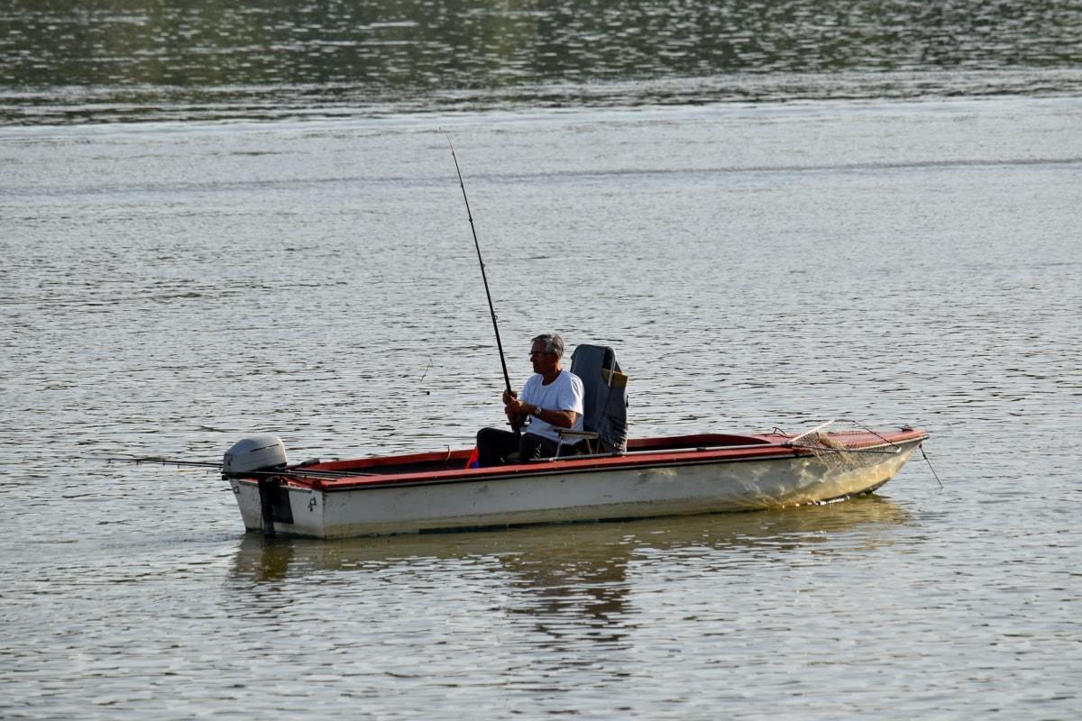 pêcheur, bateau de pêche, engins de pêche, canne à pêche, l'été, bateau, eau, rivière, embarcation, homme