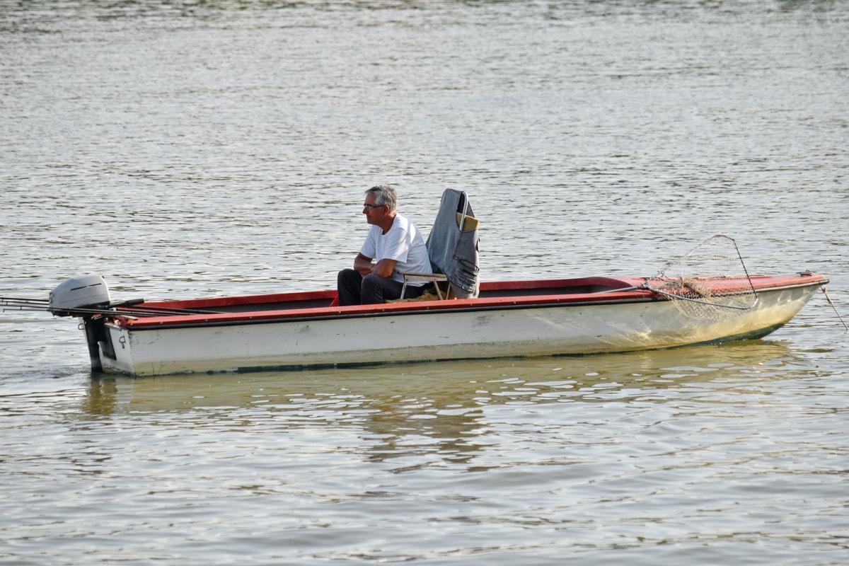 漁師, 釣りボート, 釣りギア, ボート, 水, 水上バイク, 川, 人々, 車両, 波