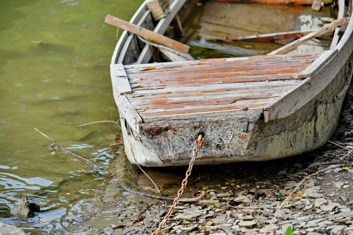 folyóparton, csónak, elhagyott, víz, roncs, fa, régi, természet, folyó, strand