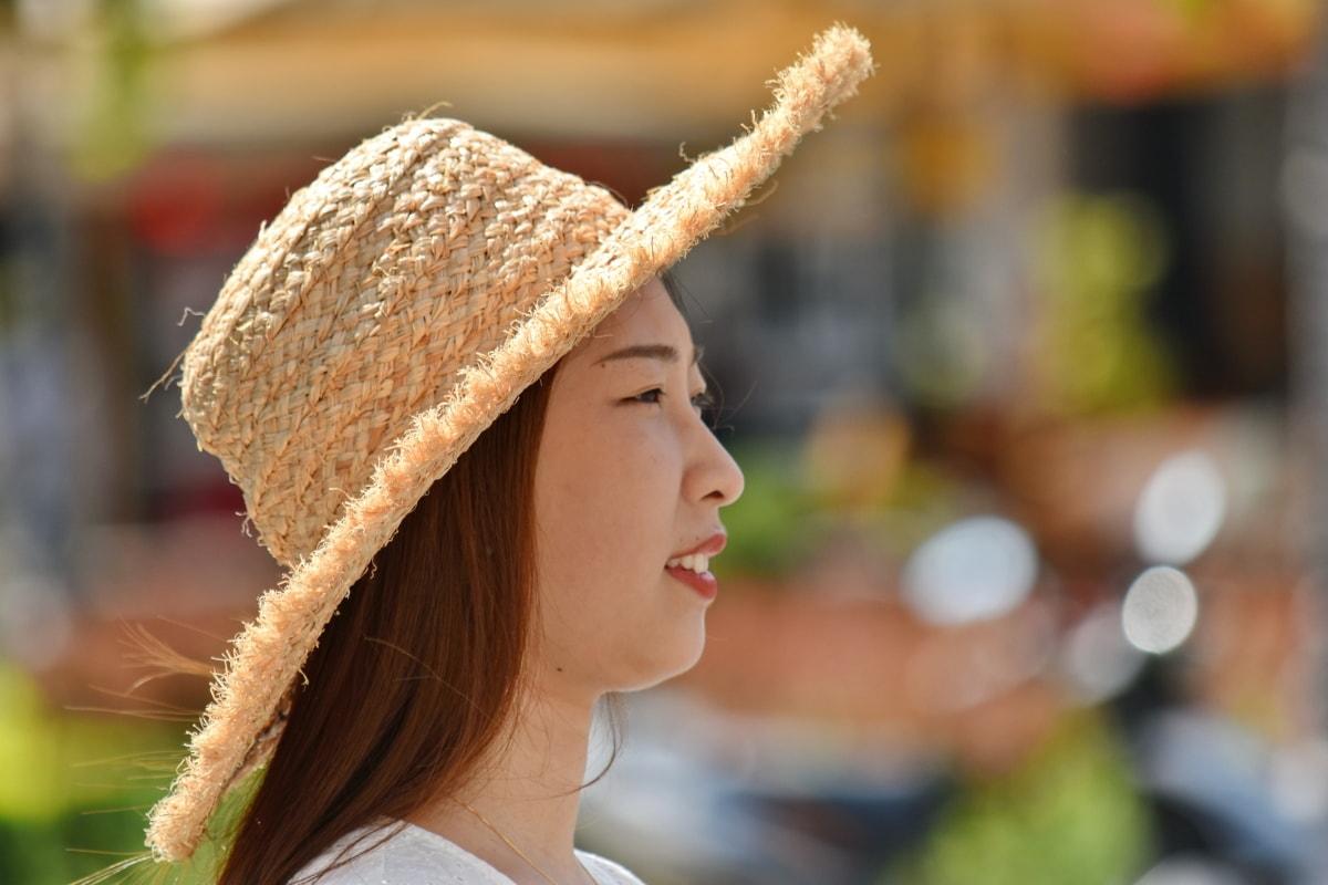 Ázsiai, gyönyörű, frizura, boldogság, kalap, fénykép modell, portré, csinos lány, Oldalnézet, mosoly