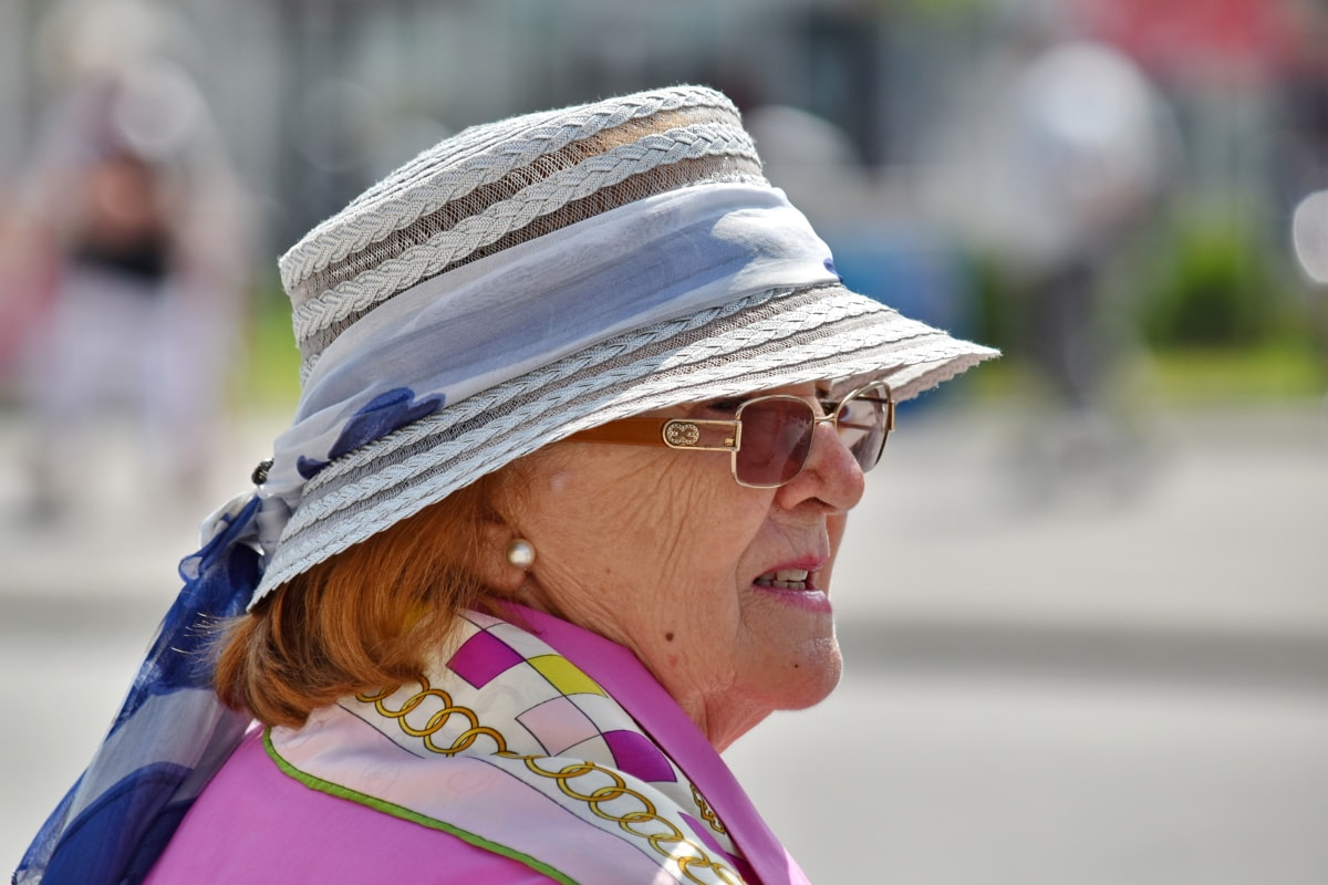 eyeglasses, fashion, grandmother, hat, pensioner, portrait, side view, clothing, outdoors, woman