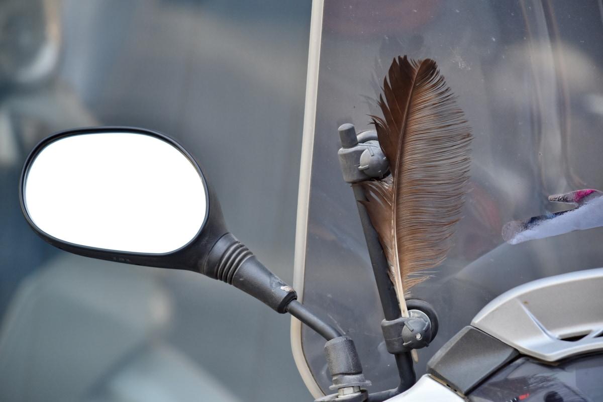 장식, 깃털, 미러, 오토바이, 스티어링 휠, 앞 유리, 거리, 빈티지, 자연, 클래식