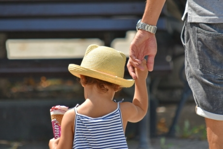 child, father, hand, hat, ice cream, people, outdoors, street, portrait, urban