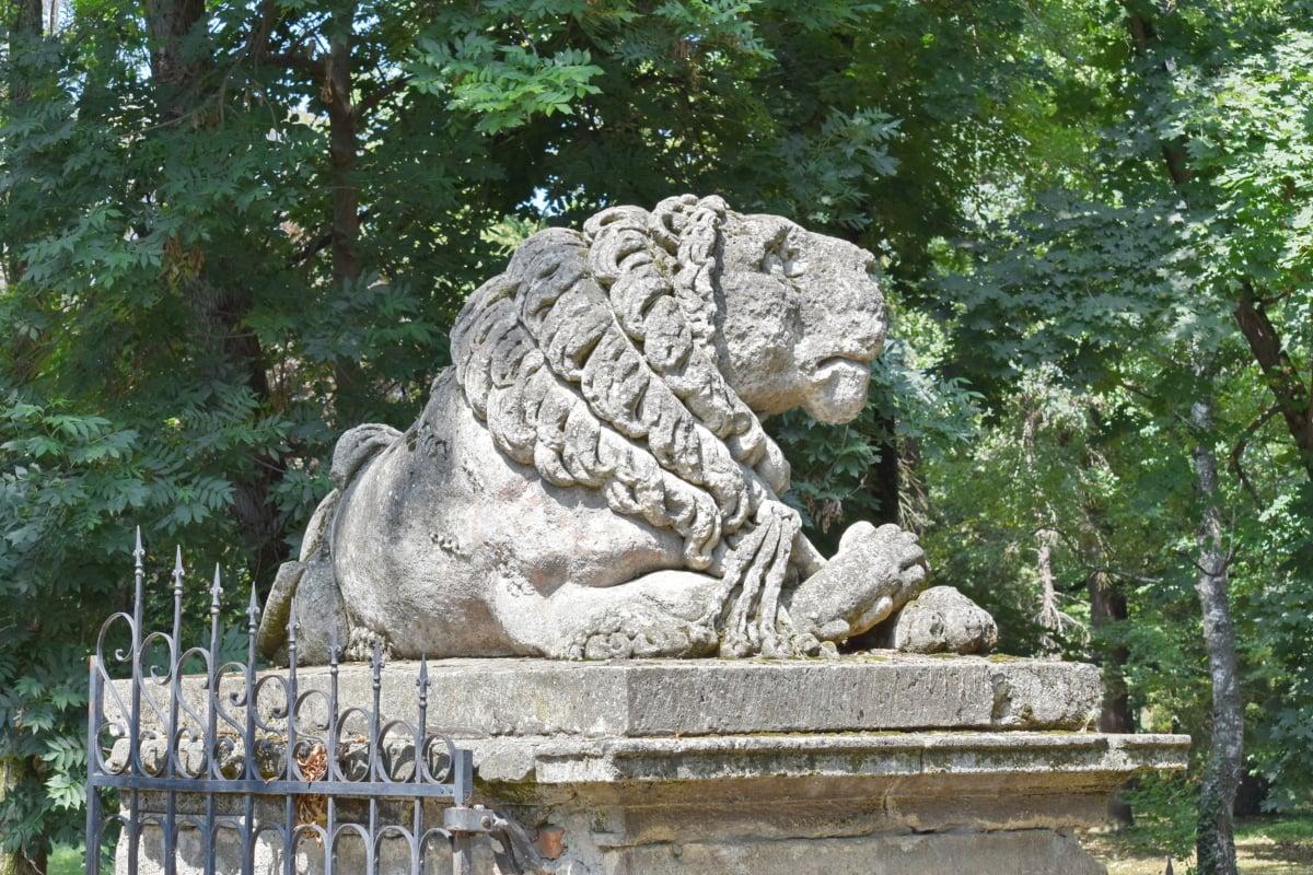 Gang đúc, hàng rào, cửa ngõ, sư tử, tác phẩm điêu khắc, Đài tưởng niệm, bức tượng, cấu trúc, đá, nghệ thuật