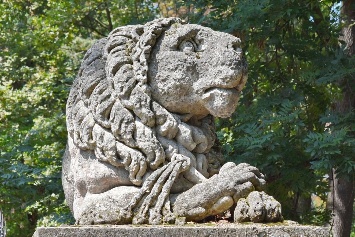 carving, lion, megalith, sculpture, memorial, statue, stone, art, ancient, culture