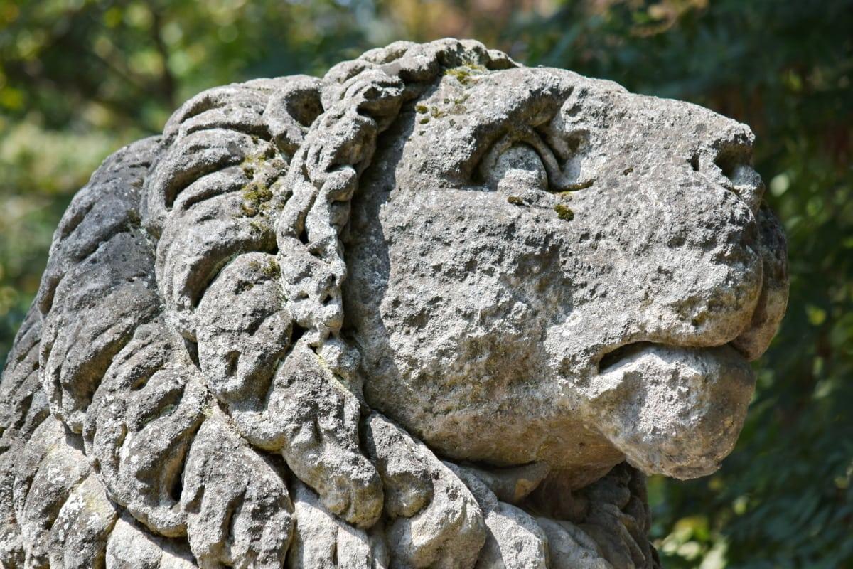 granit, lejon, staty, skulptur, sten, antika, konst, gamla, naturen, sten